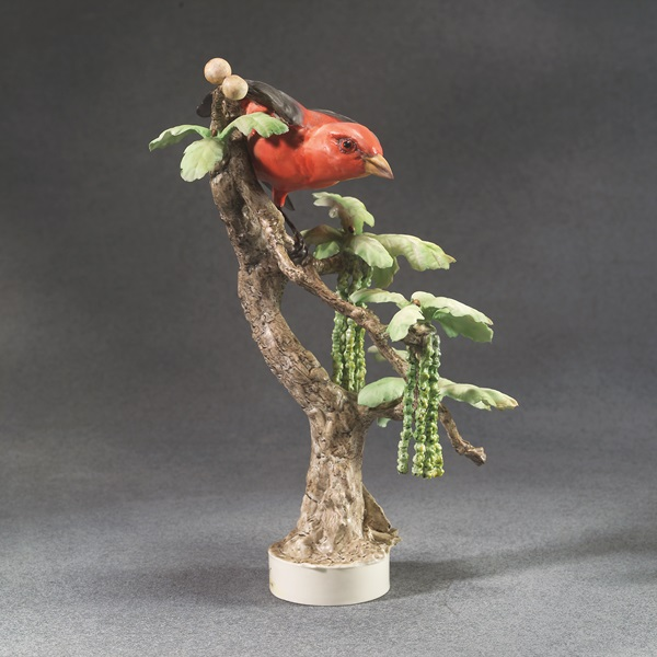 Dorothy Doughty, Scarlet Tanager and White Oak, 1956, porcelain
