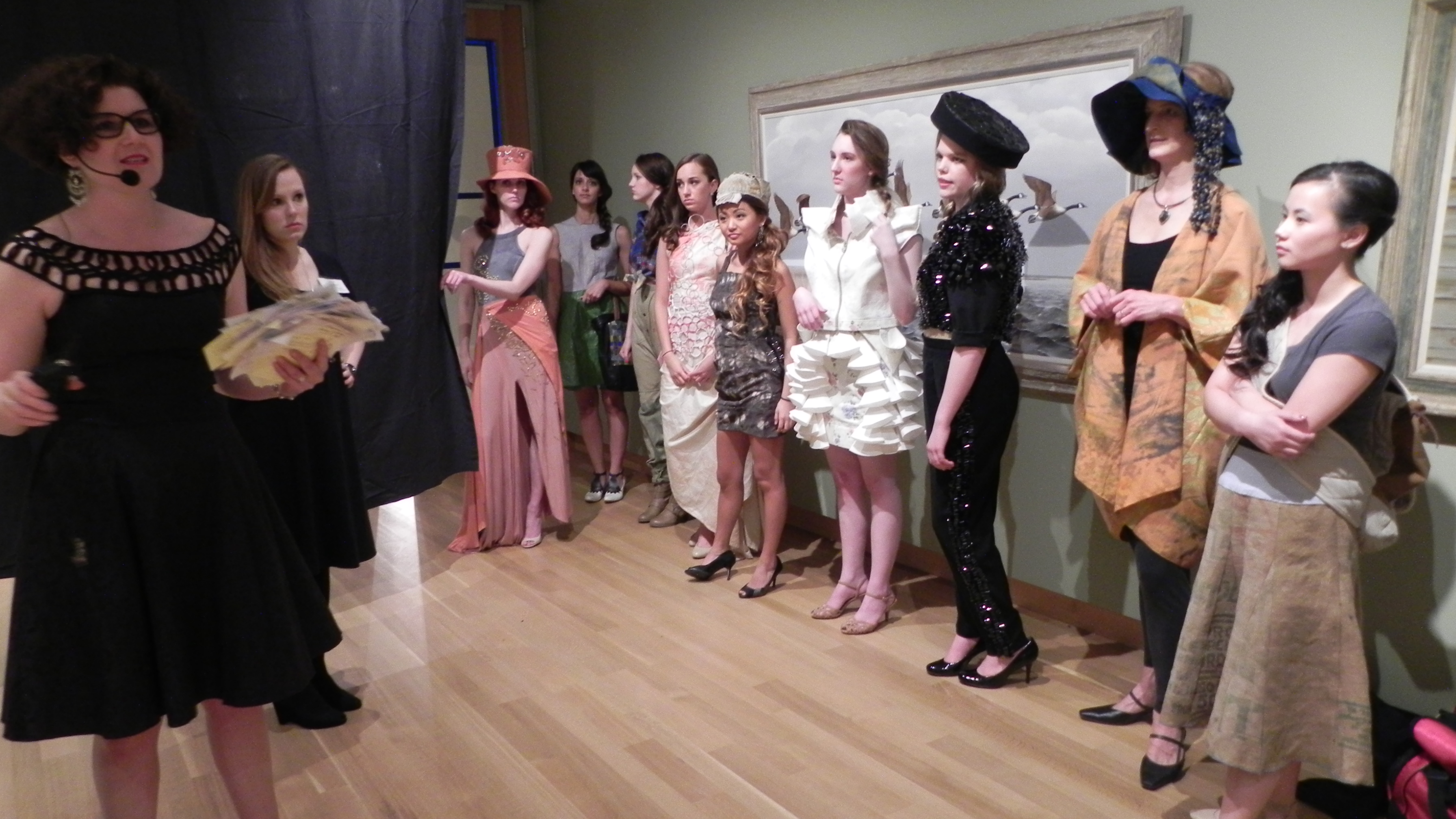 Models line up for the Recycled Runway.