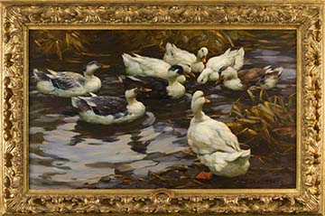 painting of ducks in evening ligh