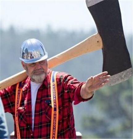 lumberman weilding a big axe