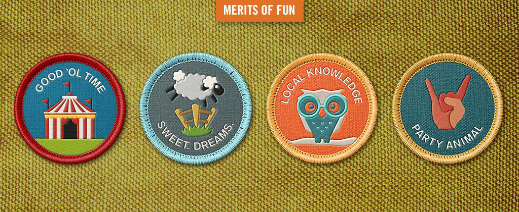 "examples of ""Merits of Fun"" badges from Travel Wisconsin"