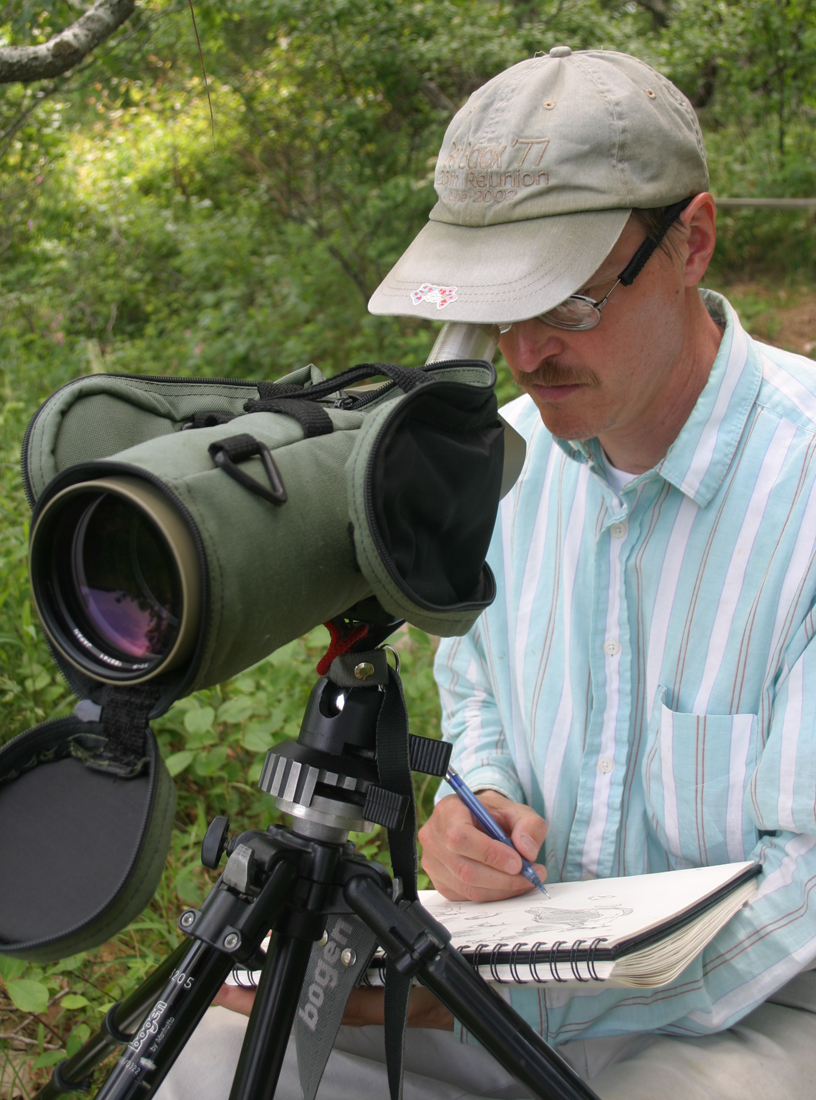 Barry Van Dusen sketching in the field