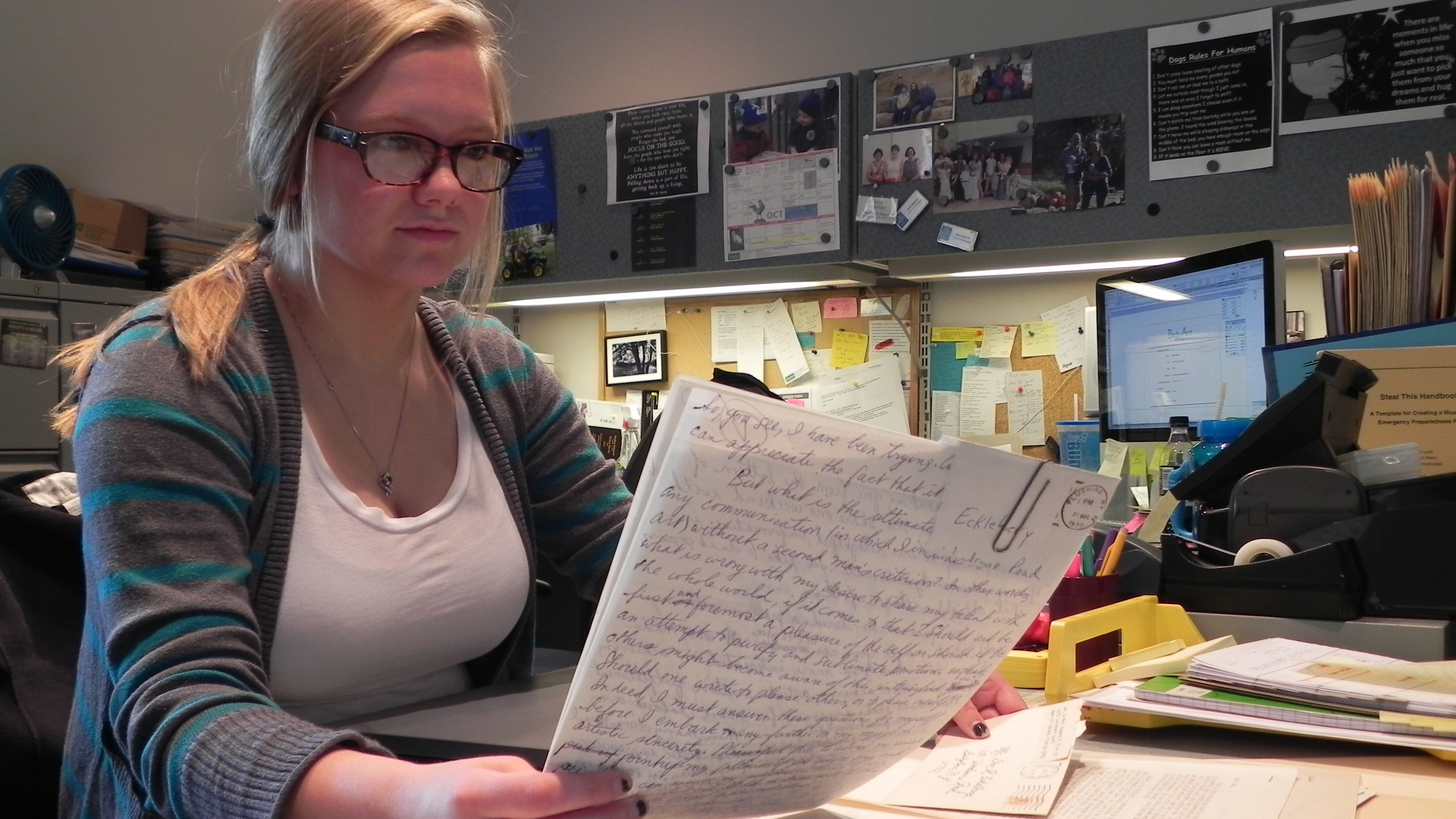 intern Rebekah Zich reviews Eckelberry letters