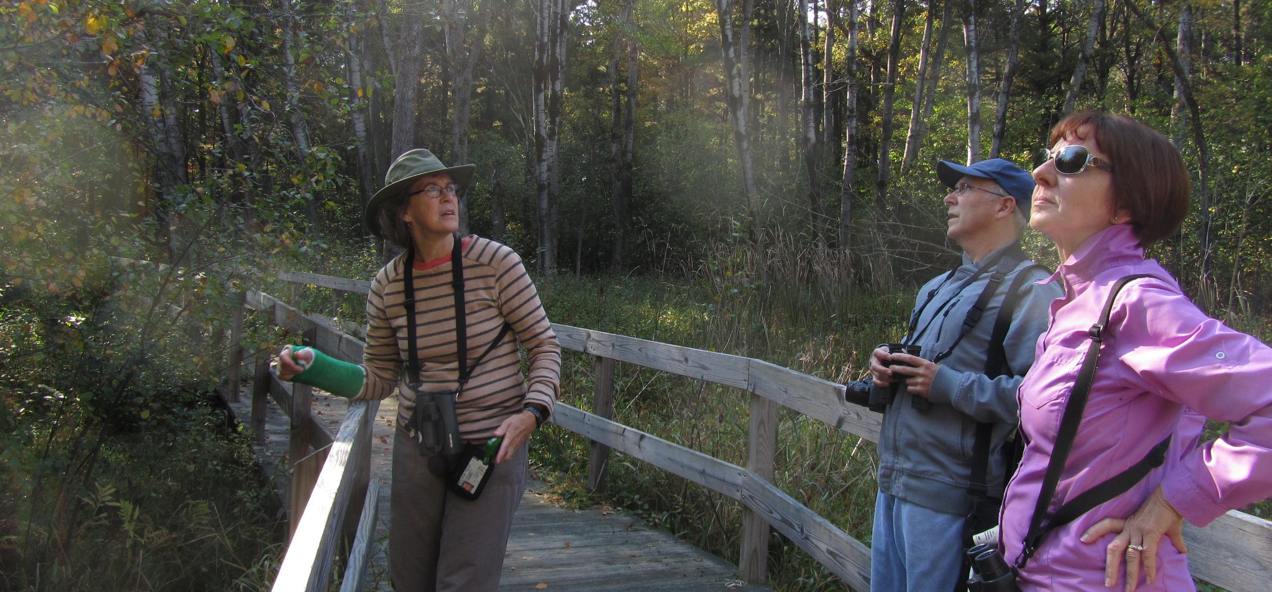 Susan and fellow birders at Bluegill Bay Park.